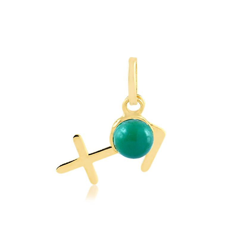 Pingente de Ouro Sagitário Símbolo do Signo com Jade Verde