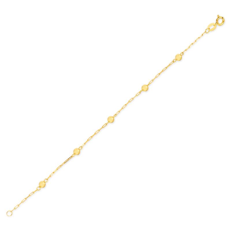 Pulseira de Ouro Infantil Bolinhas 3 mm Ouro 18k