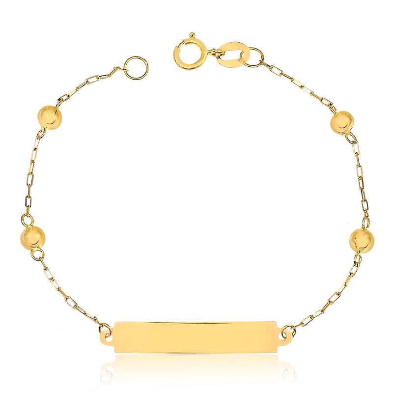 Pulseira de Ouro Infantil Cartier Bolinhas e Placa Ouro 18k