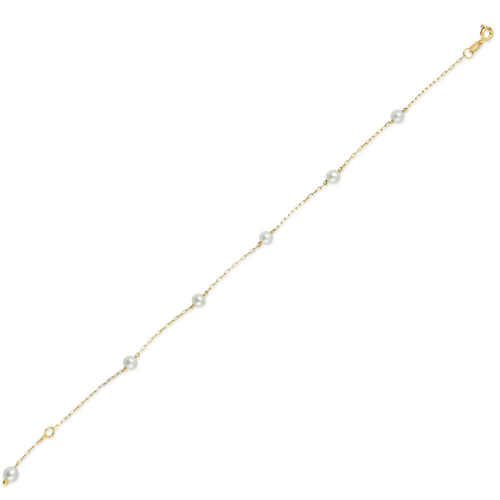 Pulseira de Ouro Infantil Pérolas 3 mm Ouro 18k