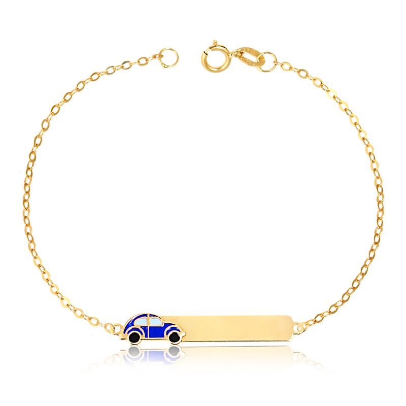 Pulseira de Ouro Infantil Plaquinha com Carrinho Azul 18k