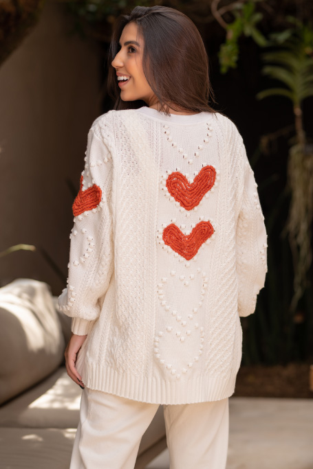 CARDIGAN TRICOT OFF WHITE LOVE