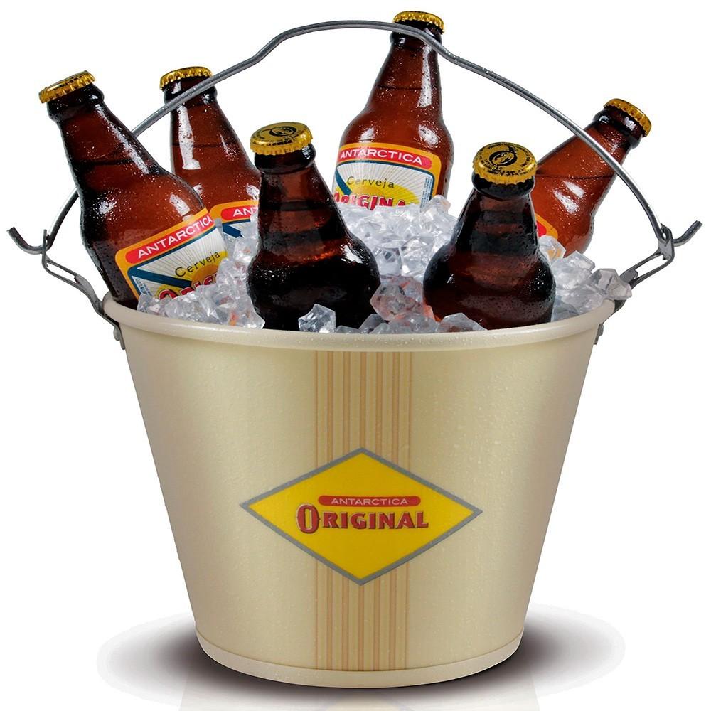 Balde de Gelo Alumínio Cerveja Original Bege
