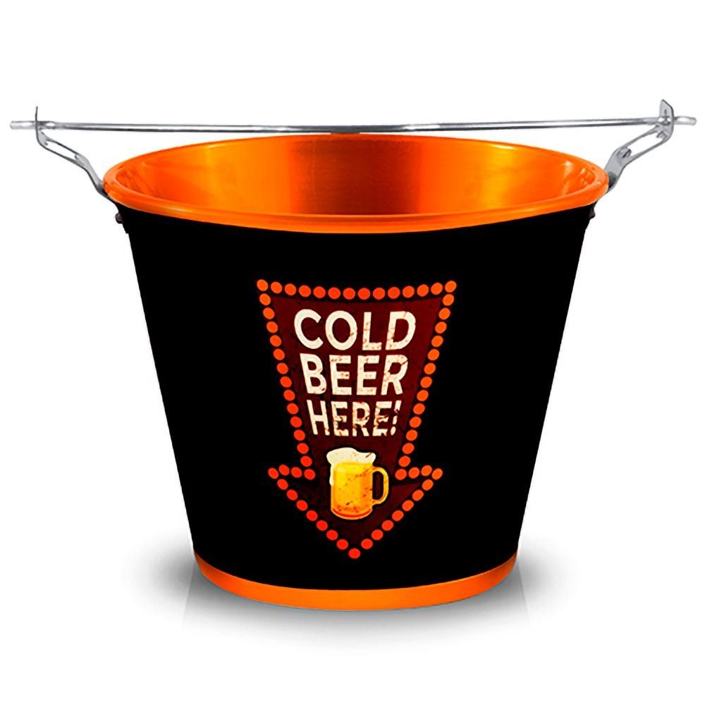 Balde de Gelo Alumínio Cold Beer Here Bronze