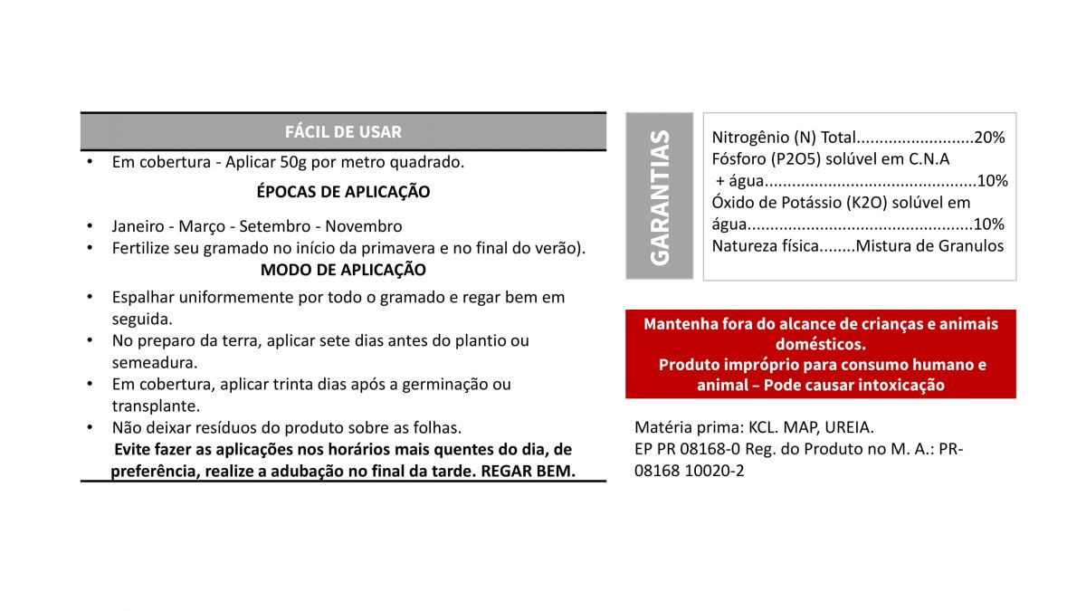 VITAPLAN Fertilizante Mineral Nutrigramas 20-10-10  1kg