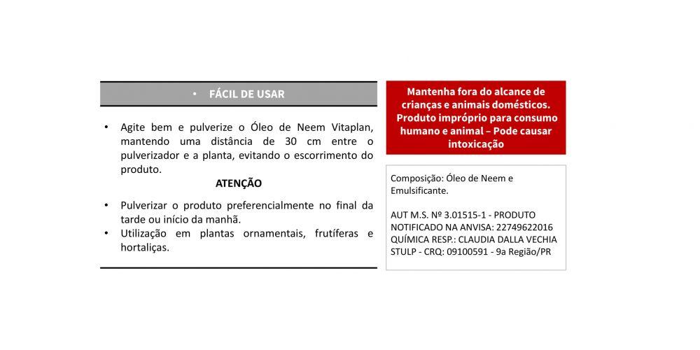 VITAPLAN Óleo de Neem Pronto uso - Produto Natural