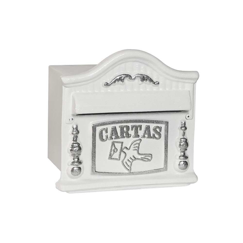 Caixa de correio correspondencia pintura eletrostatico Usinna-Branco / Prata