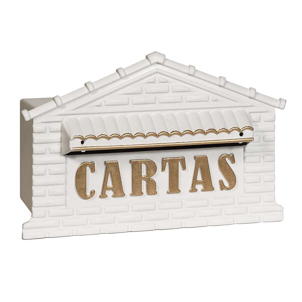 Caixa de correio grade/muro plastico para cartas usinna  - Branco/Ouro