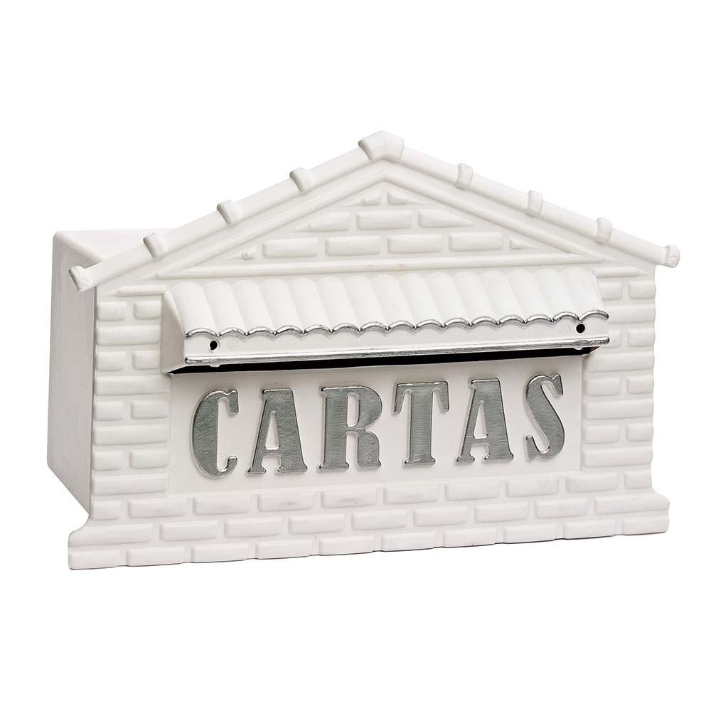Caixa de correio grade/muro plastico para cartas usinna  - Branco/Prata