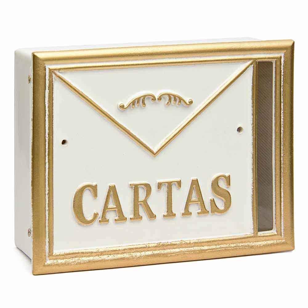 caixa de correio muro e grade cartas usinna-Branco / Dourado