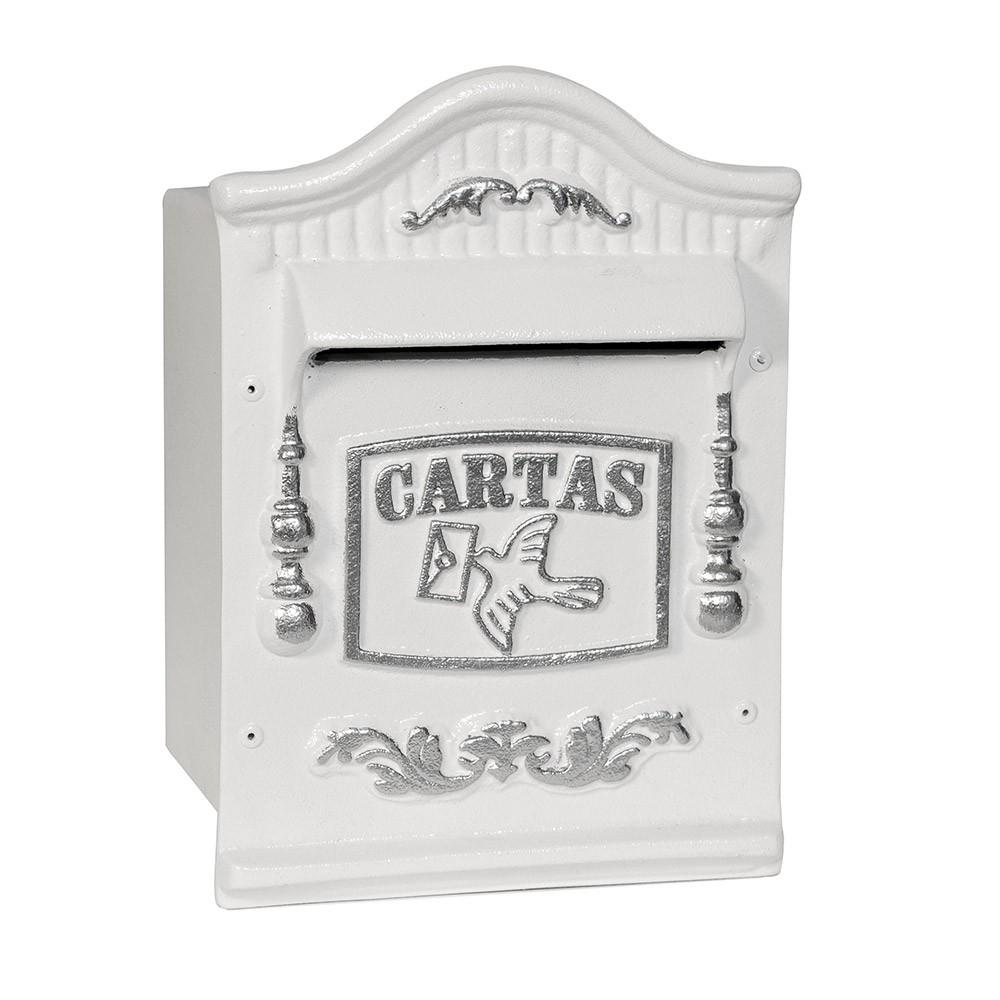 Caixa de correio pintura eletrostatico para muro Usinna-Branco / Prata