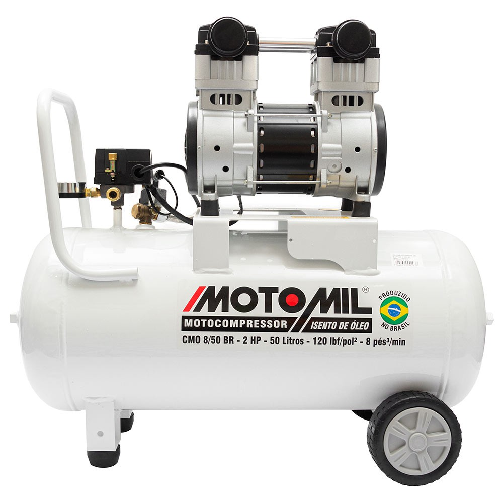 Compressor odontologico 50 litros silencioso isento de oleo 78 db cmo-8/50 2 hp motomil