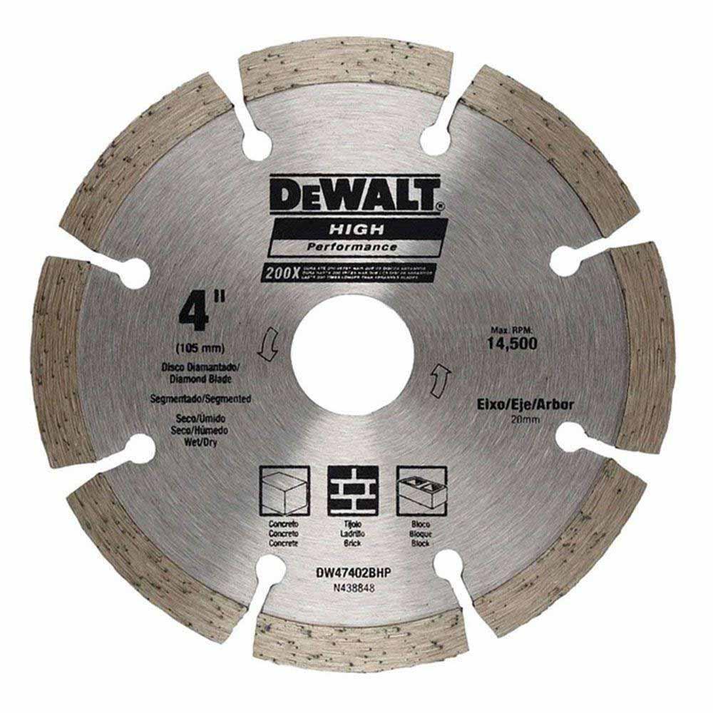 Disco de corte diamantado segmentado 4 polegadas Dewalt