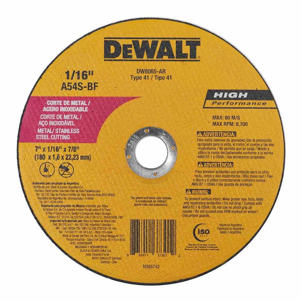 Disco de corte inox 7''  fino dw8065 dewalt