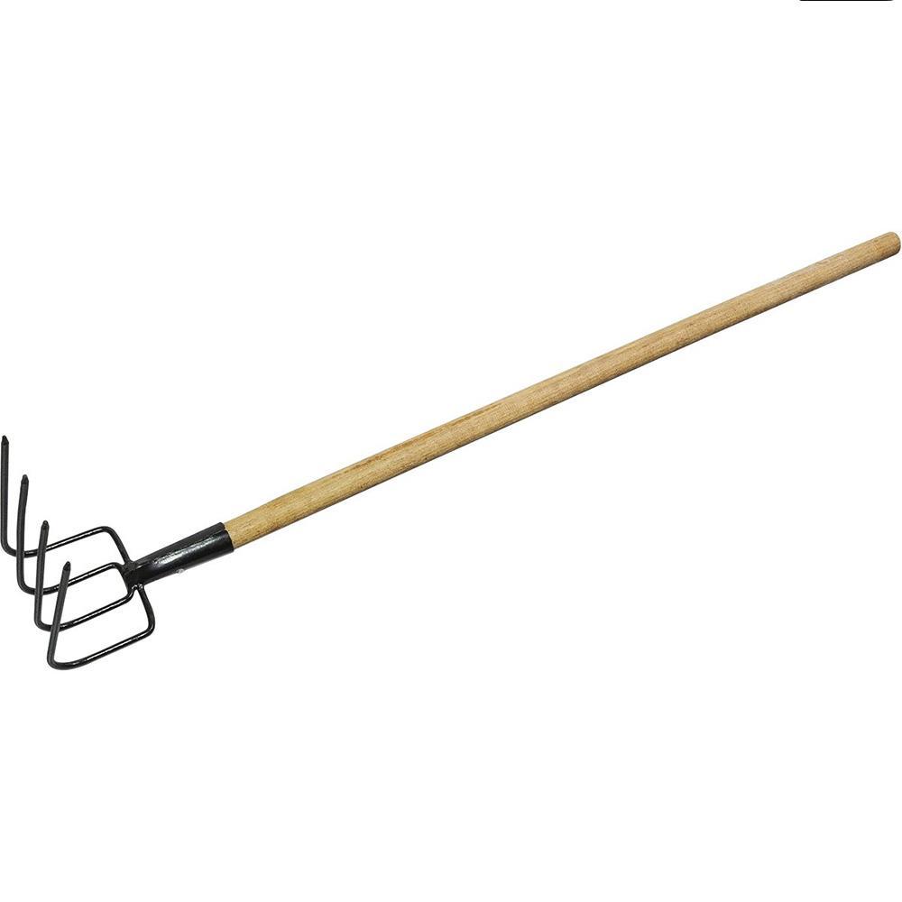Forcado 4 dentes curvo aço carbono com cabo madeira Paraboni