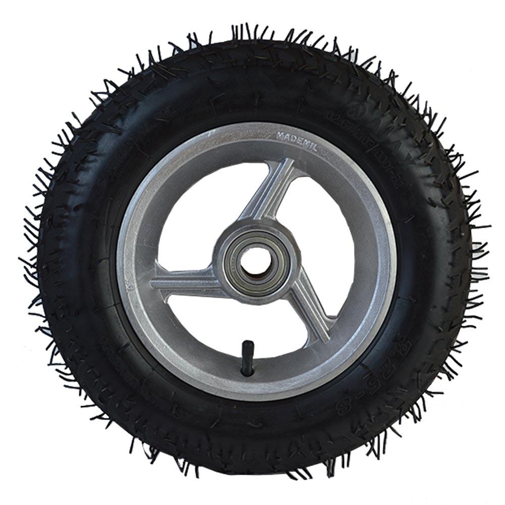 Roda aro 8 de aluminio 3 raios pneu 3.25-8 2 lonas usinna