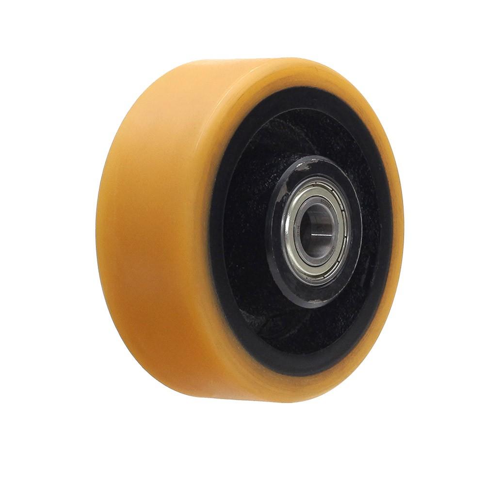 Roda de poliuretano r414 com rolamento 6002 mademil