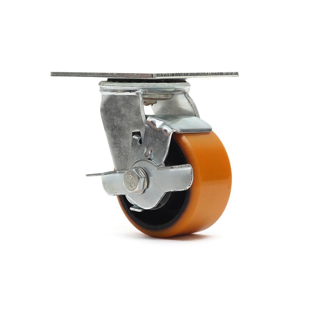 Rodizio giratorio com freio simples 4 polegadas poliuretano 400 kg ajax