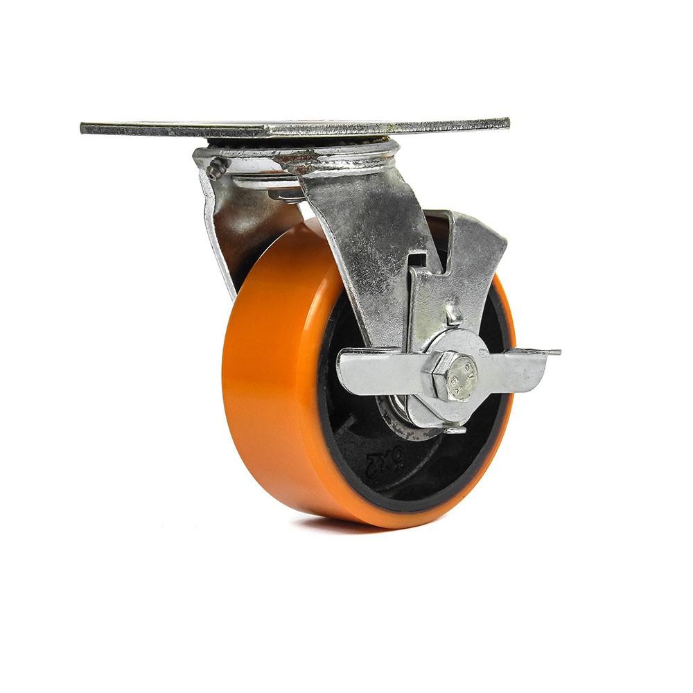 Rodizio giratorio com freio simples 5 polegadas poliuretano 400 kg ajax