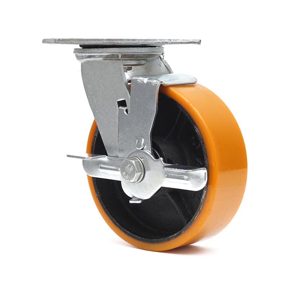 Rodizio giratorio com freio simples 6 polegadas poliuretano 400 kg ajax