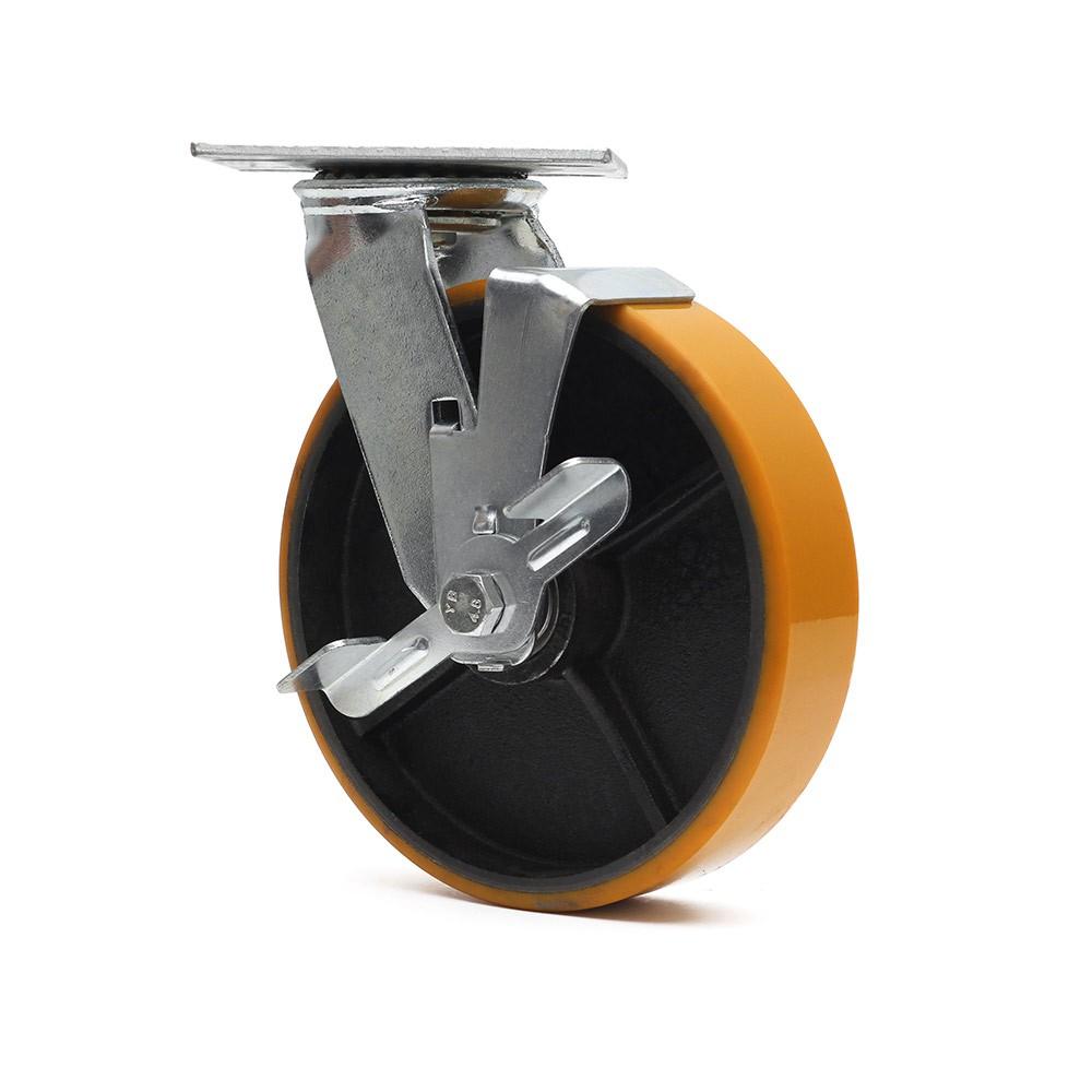 Rodizio giratorio com freio simples 8 polegadas poliuretano 400 kg ajax