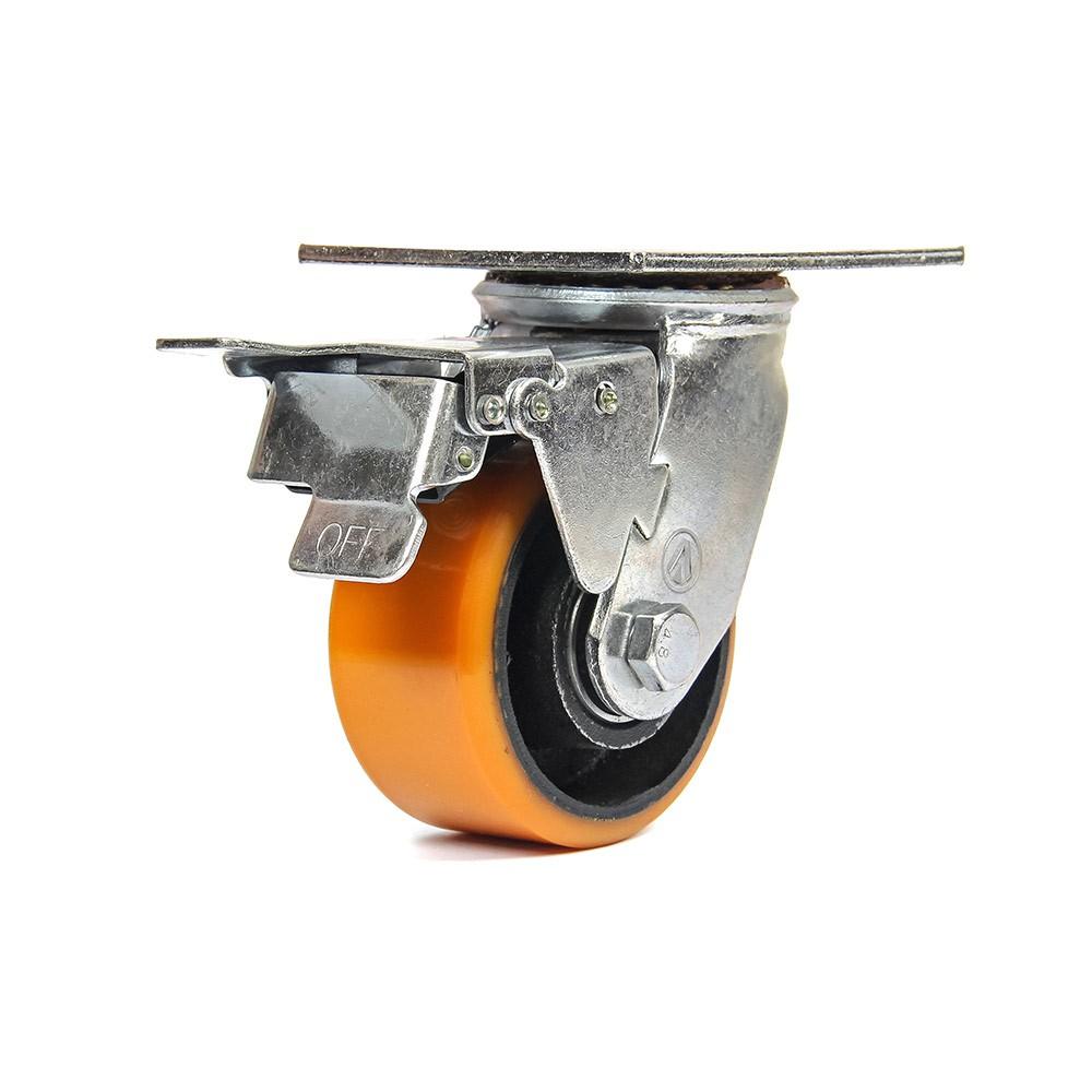 Rodizio giratorio com freio total 4 polegadas poliuretano 400 kg ajax