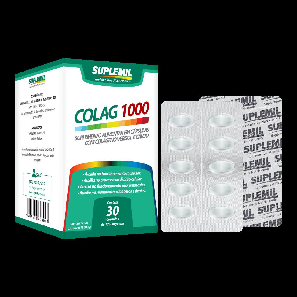 COLAG 1000 - Suplemento Alimentar de Colágeno Verisol e Cálcio c/30