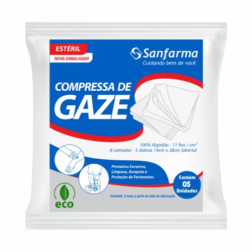Compressa de Gaze Estéril 11 Fios Sanfarma - 5 Unidades
