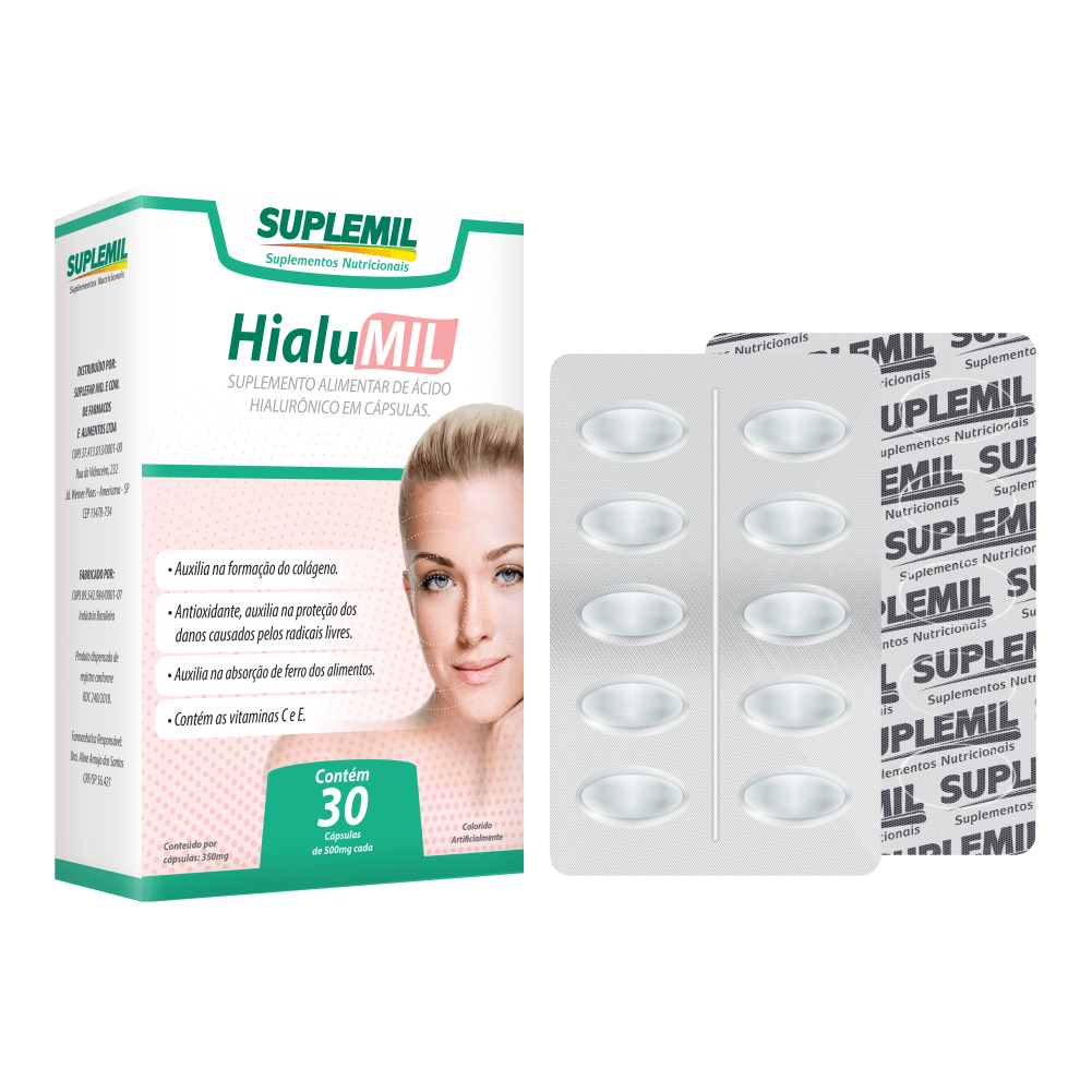HialuMil - Suplemento Alimentar de Ácido Hialurônico + Vitamina C e E c/30