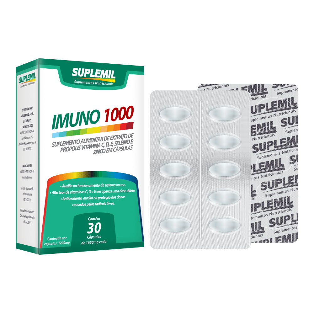 IMUNO 1000 - Suplemento Alimentar de Extrato de Própolis, Vitamina C, D, E, Selênio e Zinco c/30