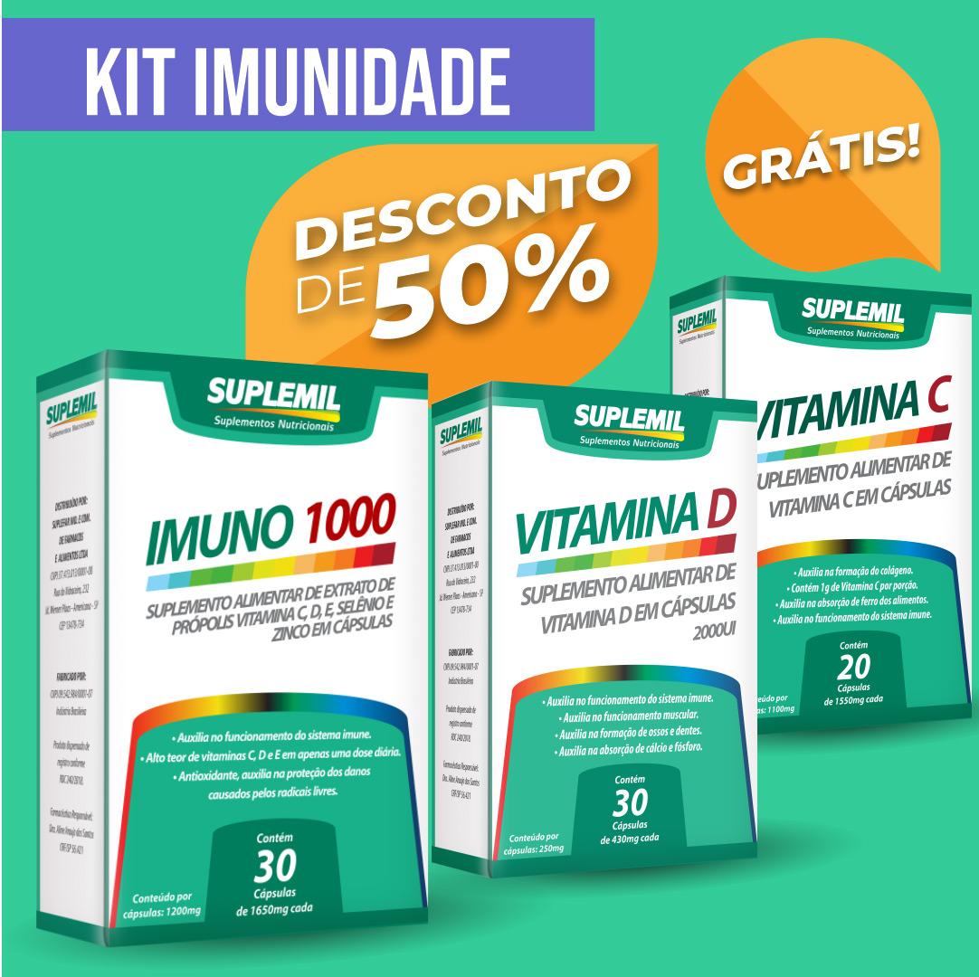 Kit Imunidade: IMUNO 1000 + Vitamina D + Vitamina C