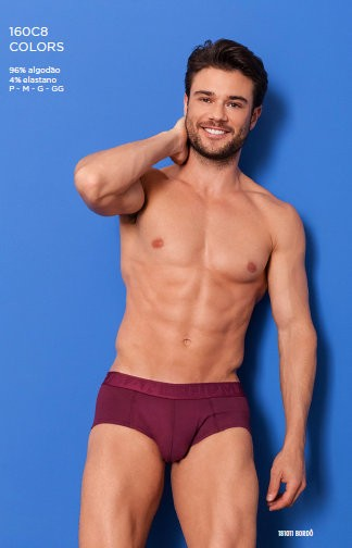 160C8-11 CUECA SLIP ALGODAO COLORS BORDO (M)