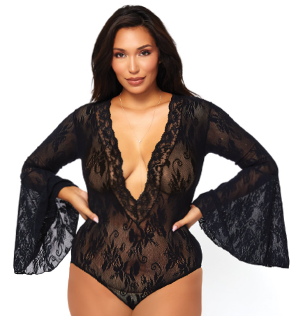 89227Q BODY CURTO MANGA LONGA PR (PLUS SIZE)