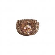 Anel Armazem RR Bijoux cristais cravejados rose