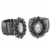 Anel Armazem RR Bijoux cristais navete azul