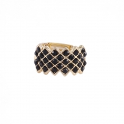 Anel Armazem RR Bijoux cristais pretos dourado