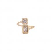 Anel Armazem RR Bijoux cristais quadrados dourado