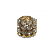 Anel Armazem RR Bijoux cristais Swarovski redondos dourado
