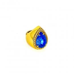Anel Armazem RR Bijoux cristal Swarovski gota azul dourado
