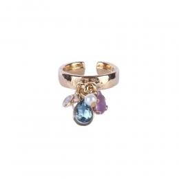 Anel Armazem RR Bijoux pingentes cristais coloridos dourado