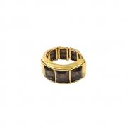 Anel Armazem RR Bijoux três cristais Swarovski dourado