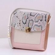 Bolsa couro Armazem RR Bijoux com lateral em madeira média rosa animal print