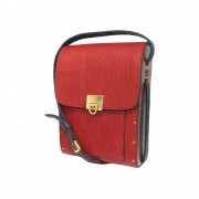 Bolsa couro Armazem RR Bijoux com lateral em madeira pequena vermelho