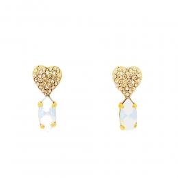 Brincco Armazem RR Bijoux coração com cristais Swarovski dourado