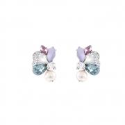 Brinco Armazem RR Bijoux cristais coloridos prata