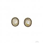 Brinco Armazem RR Bijoux cristais Swarovski cravejados dourado
