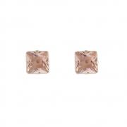 Brinco Armazem RR Bijoux cristal quadrado rose dourado