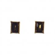 Brinco Armazem RR Bijoux cristal quadrado Swarovski dourado