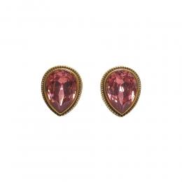 Brinco Armazem RR Bijoux cristal Swarovski gota rosa dourado