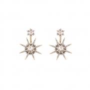 Brinco Armazem RR Bijoux Ear Jacket estrela com cristais dourado